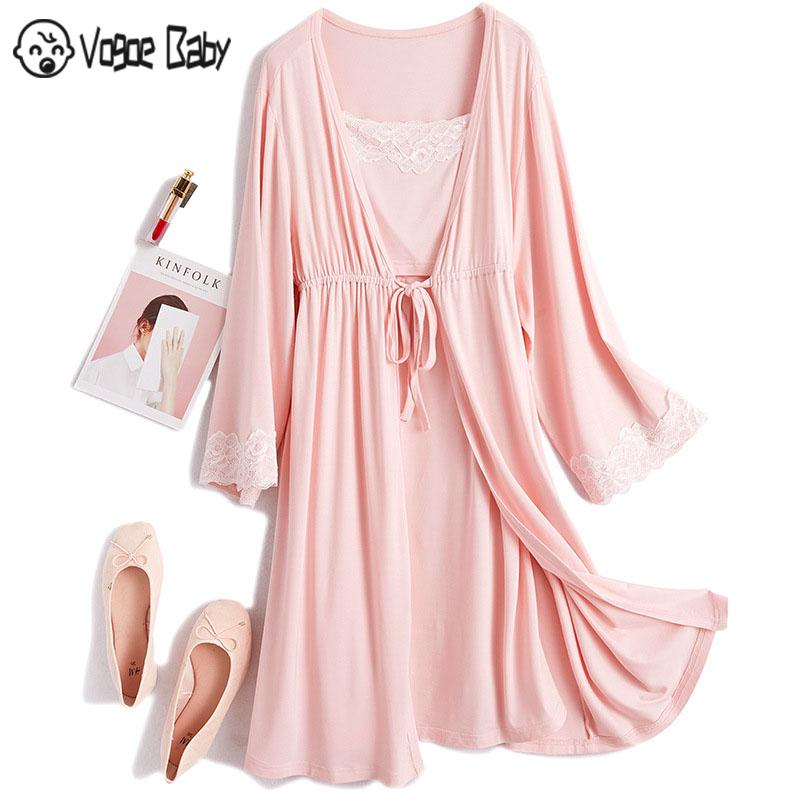 2Pcs/Set Pregnancy Maternity Pajamas Sleepwear Nursing Pregnant Pajamas Breastfeeding Nightgown Elegant Maternity Nursing Dress