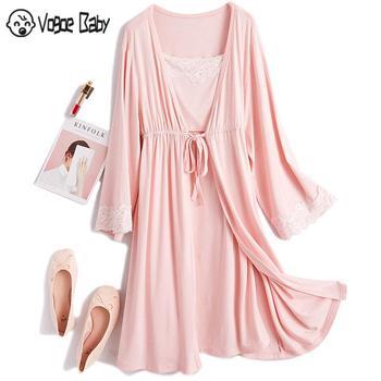 2Pcs/Set Pregnancy Maternity Pajamas Sleepwear Nursing Pregnant Pajamas Breastfeeding Nightgown Elegant Maternity Nursing Dress