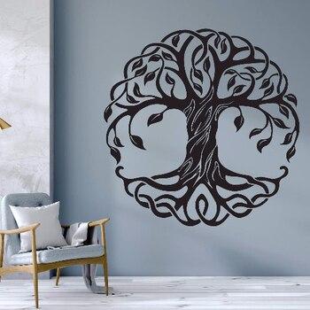 Mandala círculo árboles vinilo calcomanías de pared decoración del hogar Fitness Yoga árbol adhesivo de árbol para pared de la vida Yoga Studio murales de pared AZ044