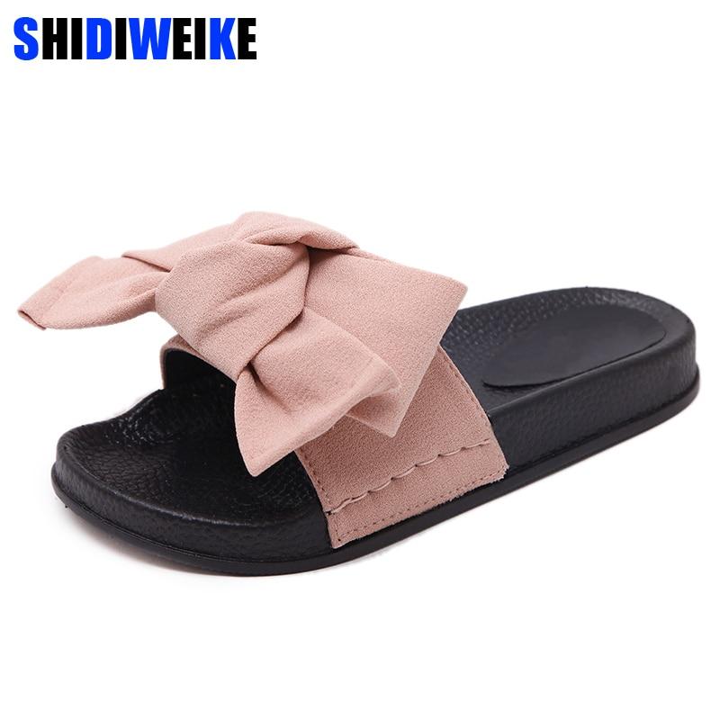 2018 Bowtie Noir Plus forme vert Pantoufles La Plate Femmes Chaussures rose Diapositives 35 44 rouge Doux Mode Plat Slip Casual De D'été Sandales On Plage Taille rBx05rgwqT