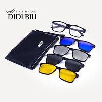 Square Polarized Magnet Clip Sunglasses Yellow Night Vision TR90 Driving Sun Glasses 5 piece Set Prescription Eyewear Frame U01