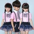 Kindergarten Class School Uniform Summer Clothing Han Edition Men and Women Fashion Suits New Shirt Straps Performance Costumes