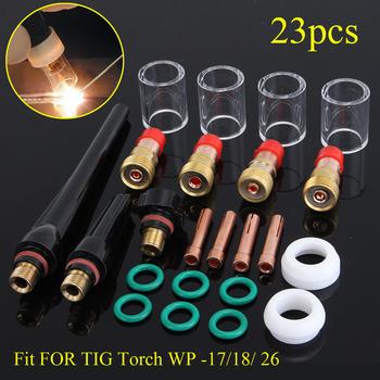 Brand New 23 sztuk zestaw nowy spawanie TIG latarka soczewka gazowa #10 Pyrex Cup Kit dla Tig WP-17 18 26 latarka akcesoria spawalnicze gorąca sprzedaż tanie i dobre opinie FORGELO NONE CN (pochodzenie) Palnik spawalniczy Tig torch High