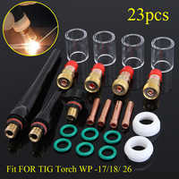 Brand New 23pcs/set New TIG Welding Torch Gas Lens #10 Pyrex Cup Kit For Tig WP-17/18/26 Torch Welding Accessories Hot Sale