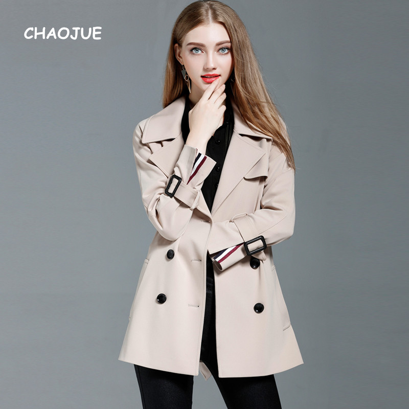CHAOJUE Brand Fashion Double Breasted Beige Trench Female Medium Length Loose Raglan Sleeve Coat Women Army Green Outwear Sales army green double breasted coat with pockets