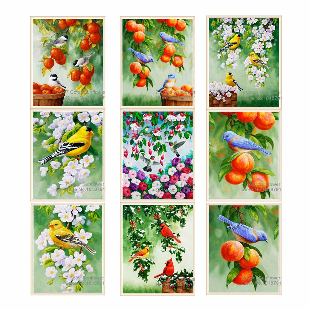 20cmX30cm 5D Diamond Painting Magnolia Flower Bird Diamond Painting Cross Stitch Diamond Mosaic Patterns Rhinestone