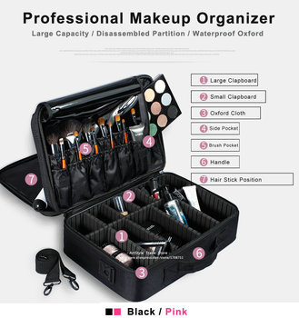 Female High Quality Professional Makeup Organizer Bolso Mujer Good Cosmetic Bag Large Capacity Storage case Multilayer Suitcases 3
