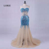 LORIE Luxury Crystal Evening Dress Beaded Light Blue Prom Dress For Graduation Tulle Mermaid Party Gown