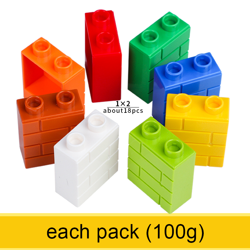 1x2 Big Size Wall Brick Classic Colorful Large Building Blocks Wall Educational Learning Toys For Boy 100g About 18PCS Per Pack