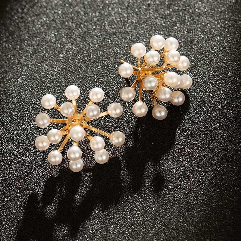 2019 koreański nowe fajerwerki projekt symulowane Pearl kwiat duże kolczyki ze sztyftami dla kobiet biżuteria ślubna panny młodej dopasowanie/kolczyki punktowe
