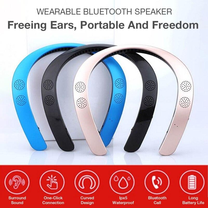 2019 New Version 5.0 Wearable Neckband Wireless Stereo Ear Headphone Personal Speaker Bluetooth Speaker MP3 Palyer Headset