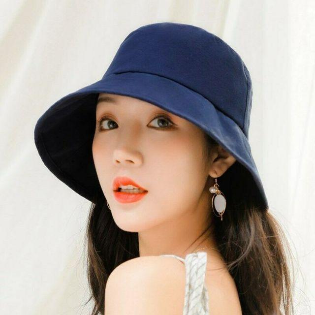 Women Ladies Casual Chic Bucket Hat Outdoor Sun Wide Solid Basic Bucket Hat