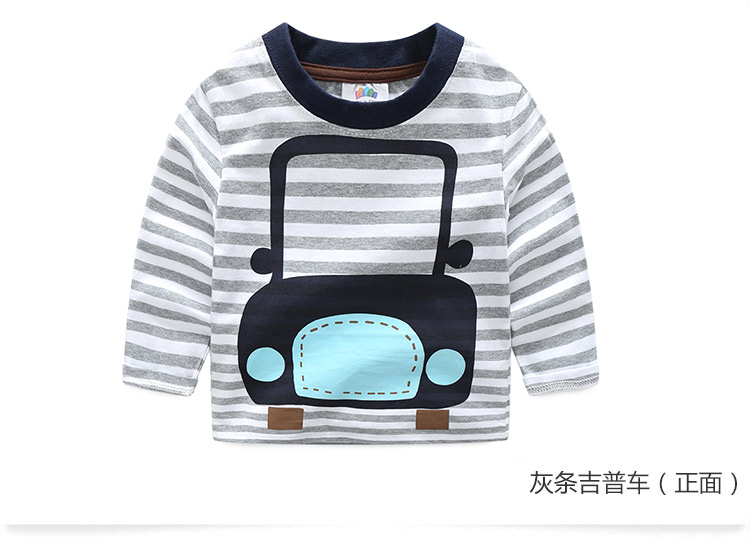 2018 Spring Autumn For 2-9 10 Years Children Cotton Striped Patchwork Cartoon Car Bus Truck Baby Kids Boys Long Sleeve T Shirts (31)