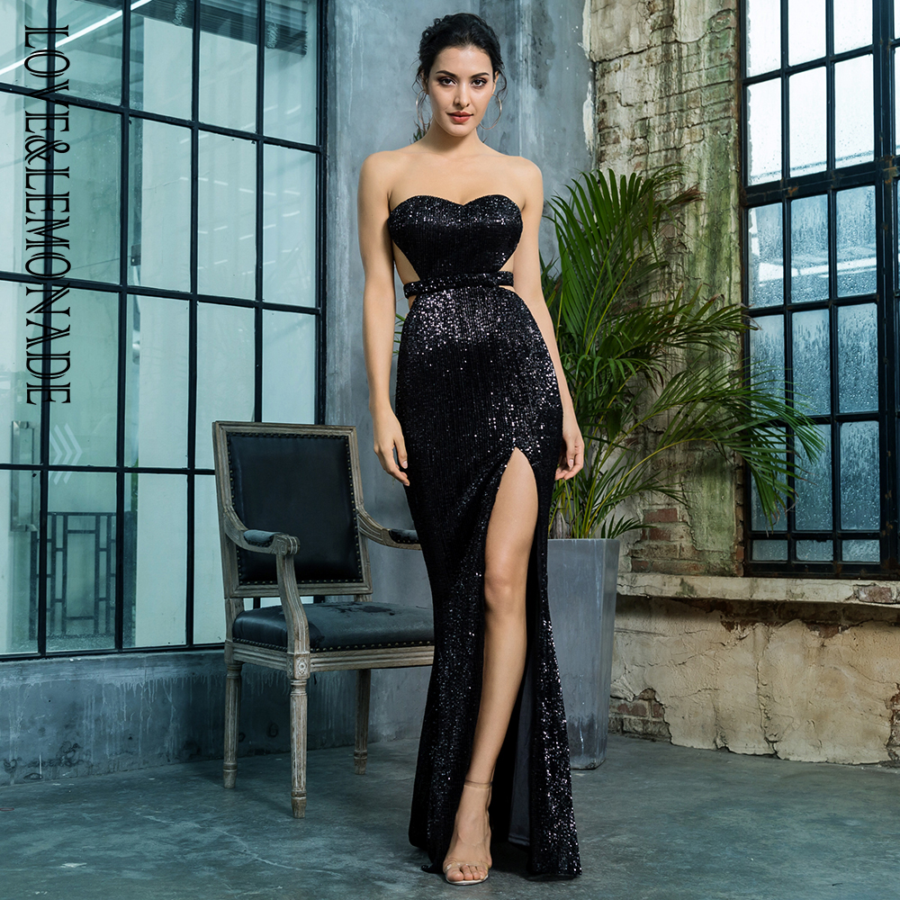 Love&Lemonade <font><b>Black</b></font> Bra Open Back Back Pleated Sequins <font><b>Slim</b></font> <font><b>Dress</b></font> Party Long <font><b>Dress</b></font> LM81335BLACK Autumn/Winter image