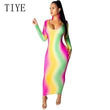 TIYE Summer Rainbow Tie-Dye Print Maxi Dress Long Sleeve Deep V Neck Elegant Bodycon Party Club Vintage Vestidos Robe