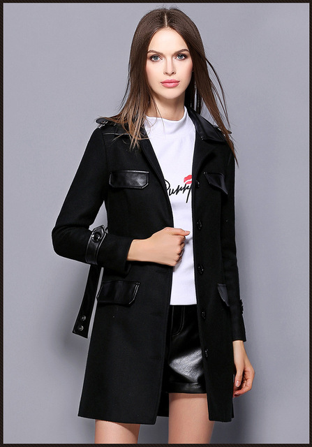 Euro 2016 plus size wool women trench Autumn winter fashion single breasted spliced epaulet all match slim ladies outwear H121
