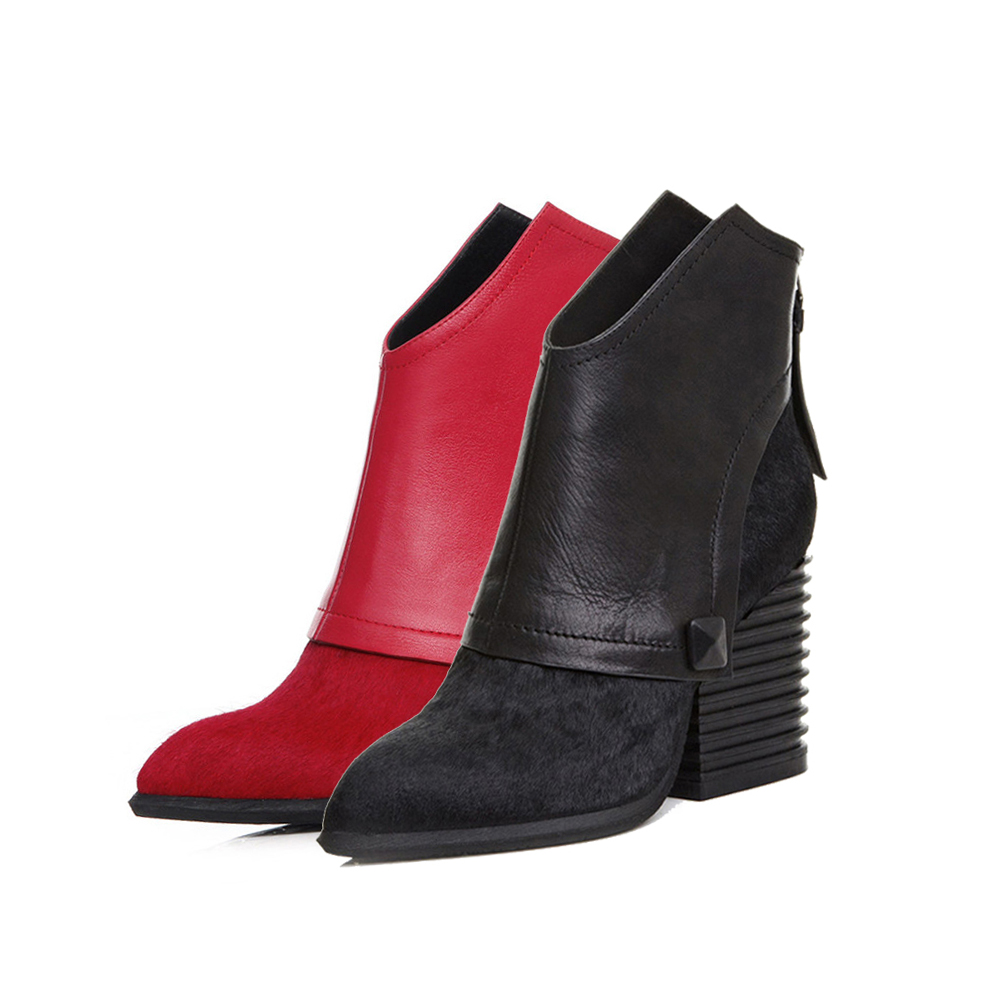Woman Boots with Heels Winter Ankle Boots Pointed Toe Zipper Boots Black High heeled Chunky Heel Ankle Boots LR01 MUYISEXI