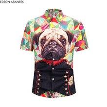 Los hombres camisa de manga corta Camiseta verano de Aloha perro Carlino gracioso botón abajo camisa hawaiana Funky Streetwear Hip Hop Camisas Casual