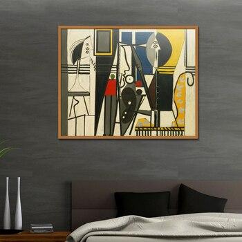 Picasso Ve Modeli Ressam şekil Boyama Soyut çerçevesiz Yağlıboya