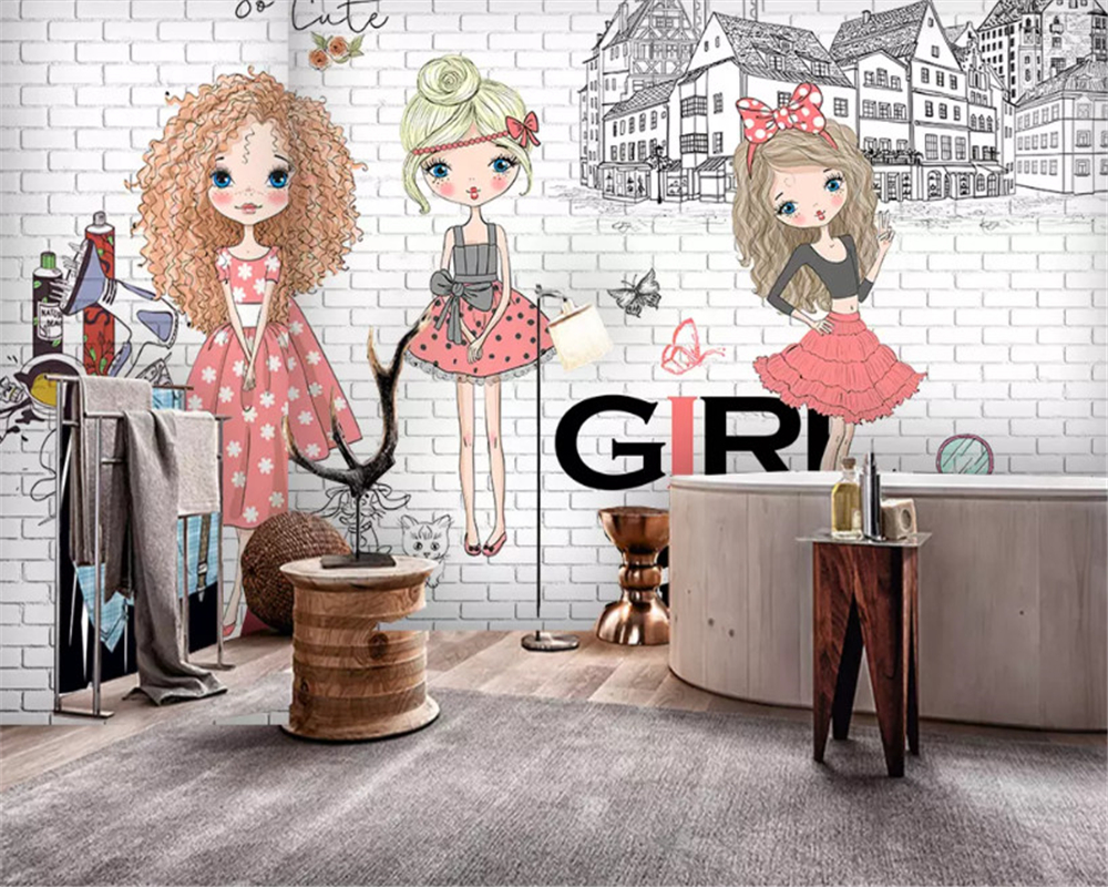 Beibehang Custom Fashion Stereo Wallpaper Retro Hand-painted Beauty Clothing Store Tooling Papel De Parede Papier Peint Behang
