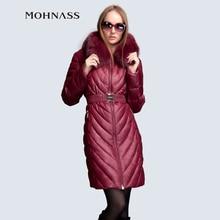 MOHNASS 2015 зимы женщины Пуховик женское пальто мода куртка зимняя женская парка женская  большие размеры лиса Мех блузки женские куртка RUS Бесплатная Доставка 3B7171