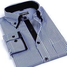 2014 New Fashion Spring Autumn double collar striped shirt business casual long sleeve Slim men
