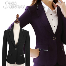2017 New Women Uniform Jackets Spring Autumn Slim Long Sleeve Blazer Shrug Plus Size Suit Grid Lady Office Coat Formal Overwear