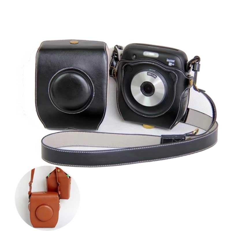 PU Leather bag Case with mini pouch shoulder strap For Fuji Fujifilm Instax SQ 10 SQ10