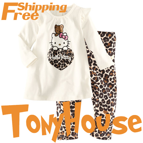 Fashion new design children girl's 2pc sets 100% cotton cartoon hello kitty leopard pyjamas/ long sleeve nightwear free shipping