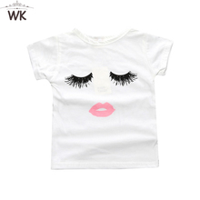 2018 Children clothing summer baby girl t-shirt cotton tees Trendy Eyelashes  Lips Kid s Graphic 4dae63955161