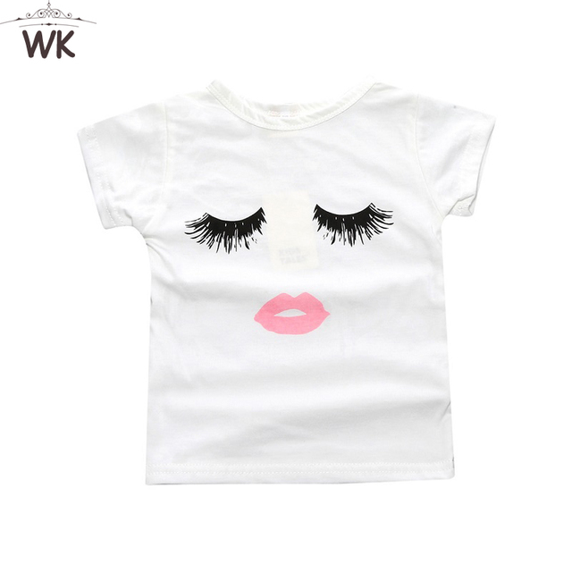 5e910cbad 2019 Children clothing summer baby girl t-shirt cotton tees Trendy  Eyelashes Lips Kid's Graphic Tee Beauty kids top Jw-097