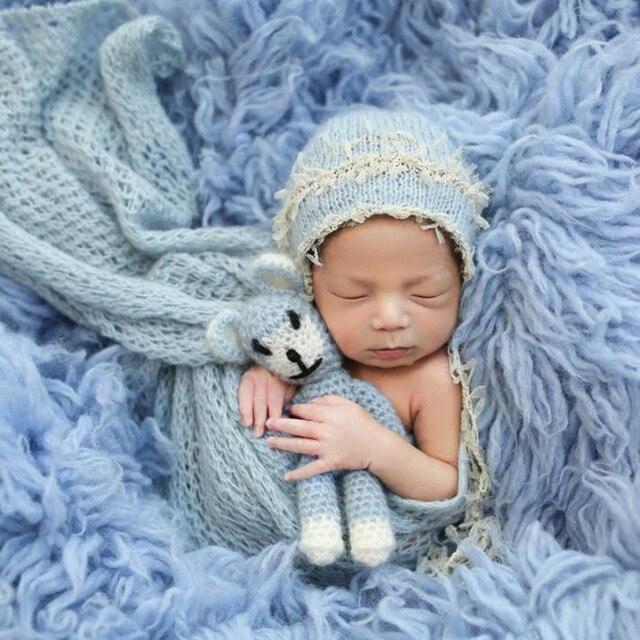 Newborn baby lace mohair wrap bonnet sets Baby boy girl lace bonnet hat  photography props 6a201832dd42