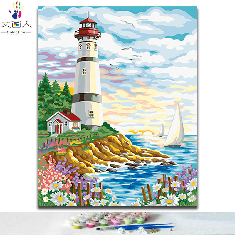 Lighthouse coast pictures paints by numbers with kits on canvas for women diy 40x50 frame handwork hoom modern wall decoration