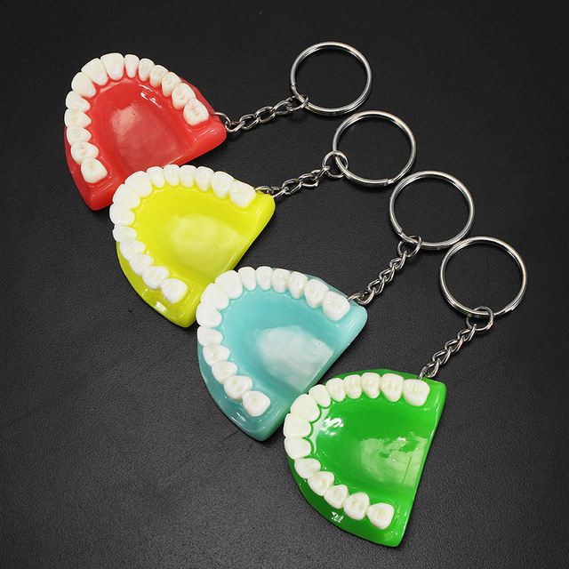 1PCS Dental Tooth Keychain Resin Molar Upper Jaw Model Shape Pendant Key Ring Dentist Decoration Clinic Ornament Gift 2018 New
