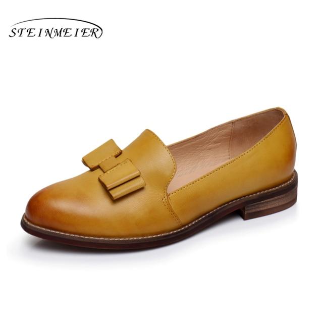 Yinzo das Mulheres Flats Oxford Shoes Mulher amarelo Sapatilhas Brogues Senhoras Do Vintage Sapatos Casuais Sapatos de Couro Genuíno Para As Mulheres