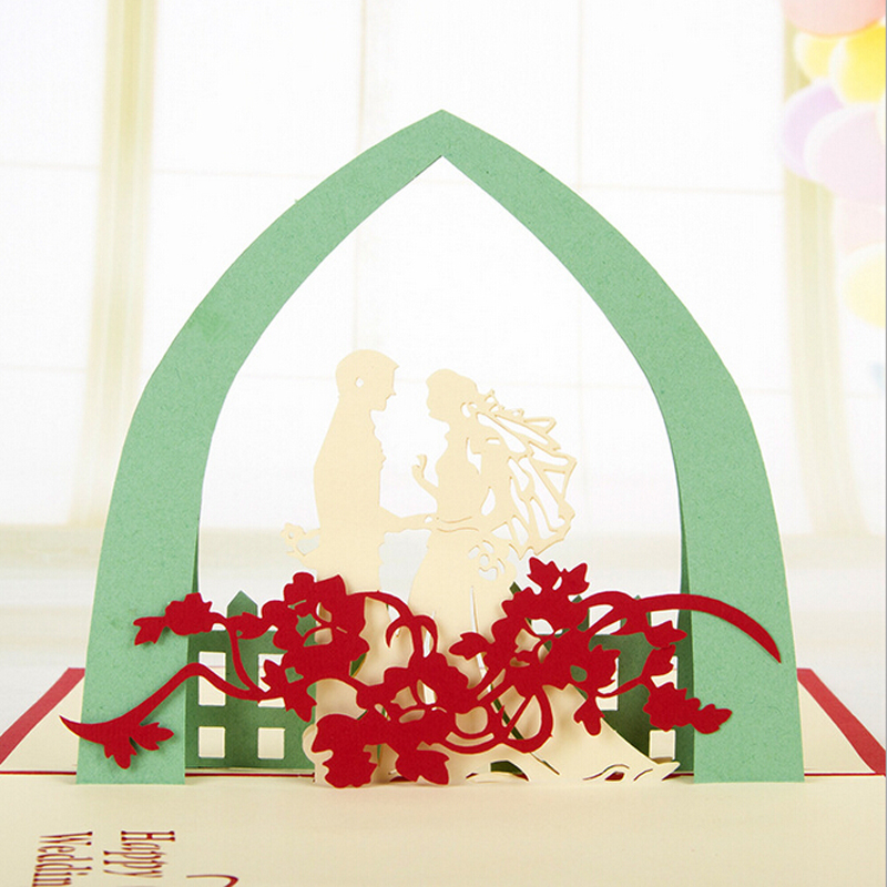 (10 pieces/lot)Retail Wedding Gift Three-dimensional Handmade Wedding Greeting Card Diy Paper Art 3D Commercial Greeting Card