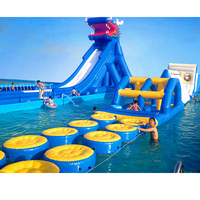 Amusement park games outdoor Jumping water slide giant inflatable slide for cool summer