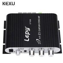 Lepy LP-838 Amplificador de Audio Mini Hi-Fi 2.1 Amplificador Estéreo Mini Amplificador de Sonido Portátil de CD MP3 MP4 para Coche Subwoofer Altavoces