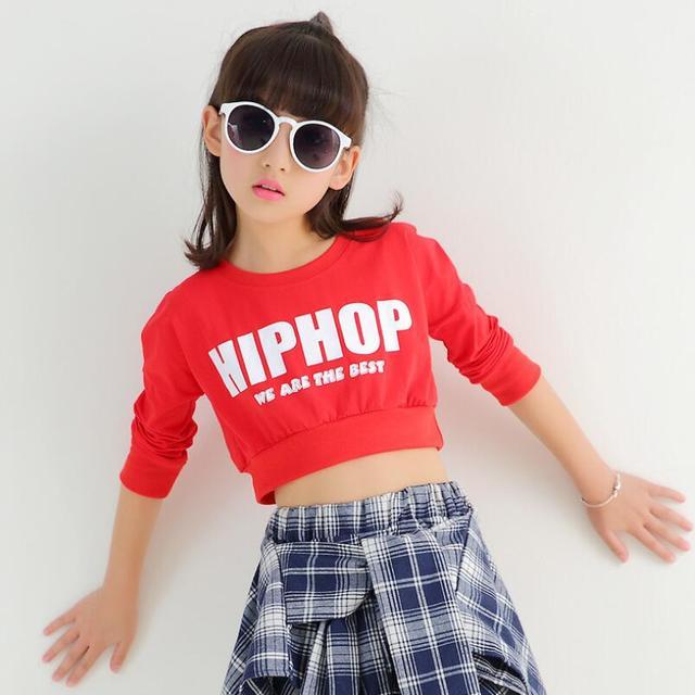b534a9f527f7d 3-15 años Niñas manga larga Salón Jazz hip hop danza traje Tops para el