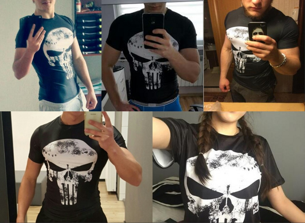 Punisher 3D Printed T-shirts Men Compression Shirts Long Sleeve Cosplay Costume crossfit fitness Clothing Tops Male Black Friday 33
