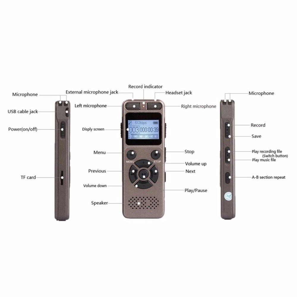 Mini enregistreur vocal numérique Portable avec Microphone carte d'extension TF maximale de 64 go pour toute Occasion enregistrement en WAV/Mp3 - 6