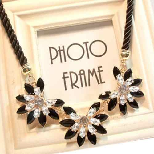 Woman Crystal Rhinestone Weave Flower Decoration Bib Chocker Necklace Short Style Jewelry Charms gold Wedding Rope Necklace Coll