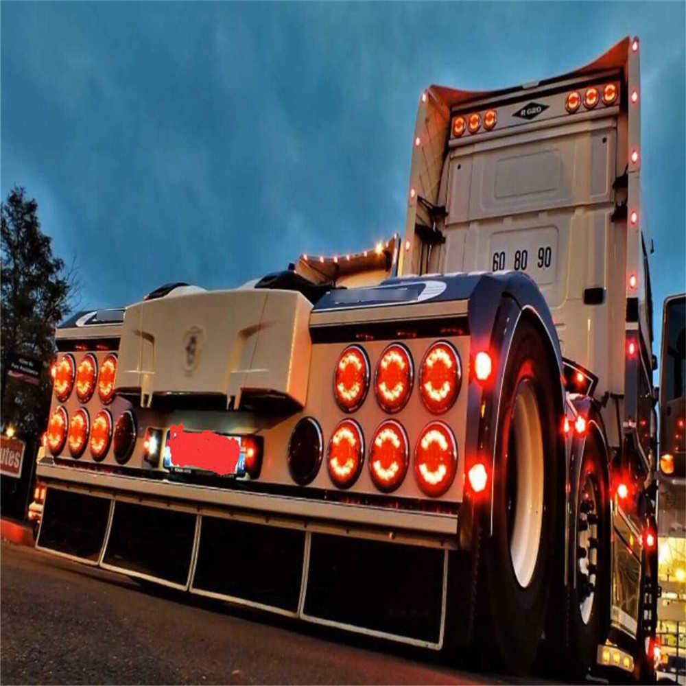 RC Mobil Top Belakang LED Set untuk 1/14 Tamiya Scania R620 R470 Kembali Ke Atas Atap Menggunakan LED Rem dan Sinyal lampu Lampu Kit Aksesoris