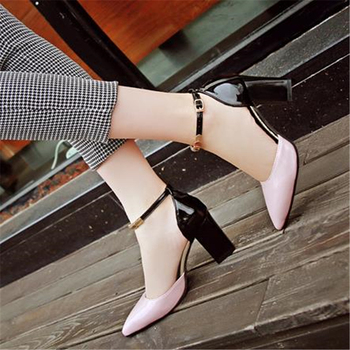 сандалия с одним ремешком   Модные черные босоножки на высоком каблуке женские тонкие туфли на толстом каблуке женские туфли с острым носком на пуговицах 7,5 см