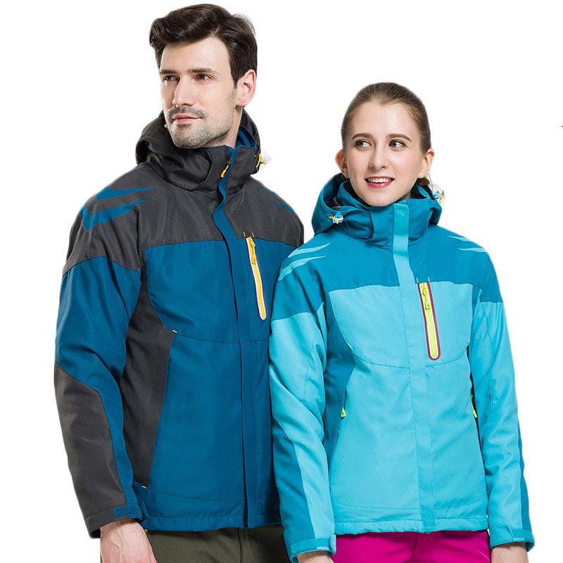 ФОТО 2016 New Style Outdoor Men/ Women Hiking Jacket Windproof Two-piece waterproof Fleece Windbreaker Jacket Warm Coat Jacket Pizex