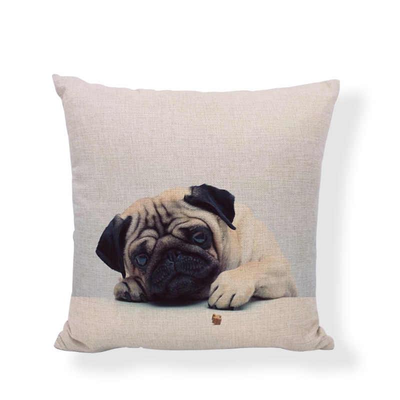 เบาะรองนั่งแฟชั่นน่ารัก Pug Dog ห้องนั่งเล่น Decor โซฟาที่นั่ง Farmhouse เด็กคุณภาพสูงผ้าฝ้ายผ้าลินินปลอกหมอน