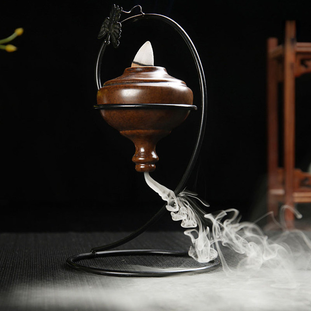 US $39 99 |Suspension Smoke Blackflow Incense Burner Ceramic Ornament  Sandalwood Agarwood Censer Home Decor Furnishing Office Decorations-in  Incense &