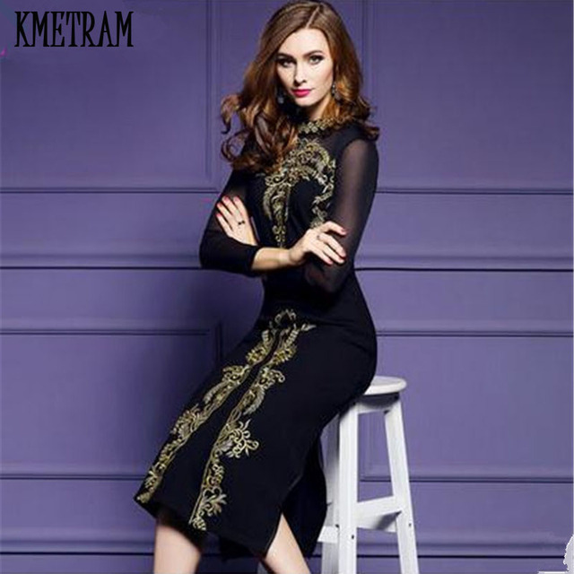 0703bb5cde Black Embroidery Bodycon Dress Long Sleeve Italy Sexy Party Dresses 2018  Elegant Ukraine Vestido Plus Size Vestidos Mujer YJZ118