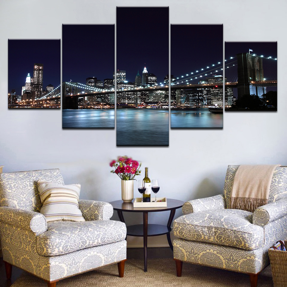 New York City Modern Canvas Painting Print Picture Home: New York City Night Skyline Wall Art Picture Beautiful