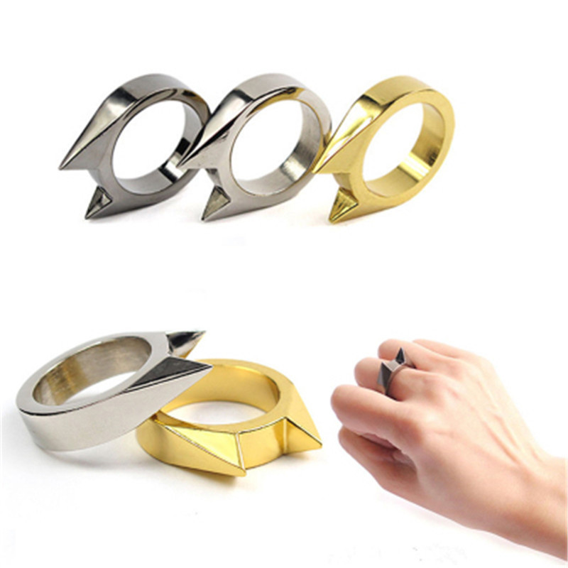 100PCS Women Men Safety Survival Ring Tool EDC Self Defence Stainless Steel Ring Finger Defense Ring